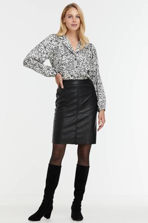 blouse met print wit/zwart