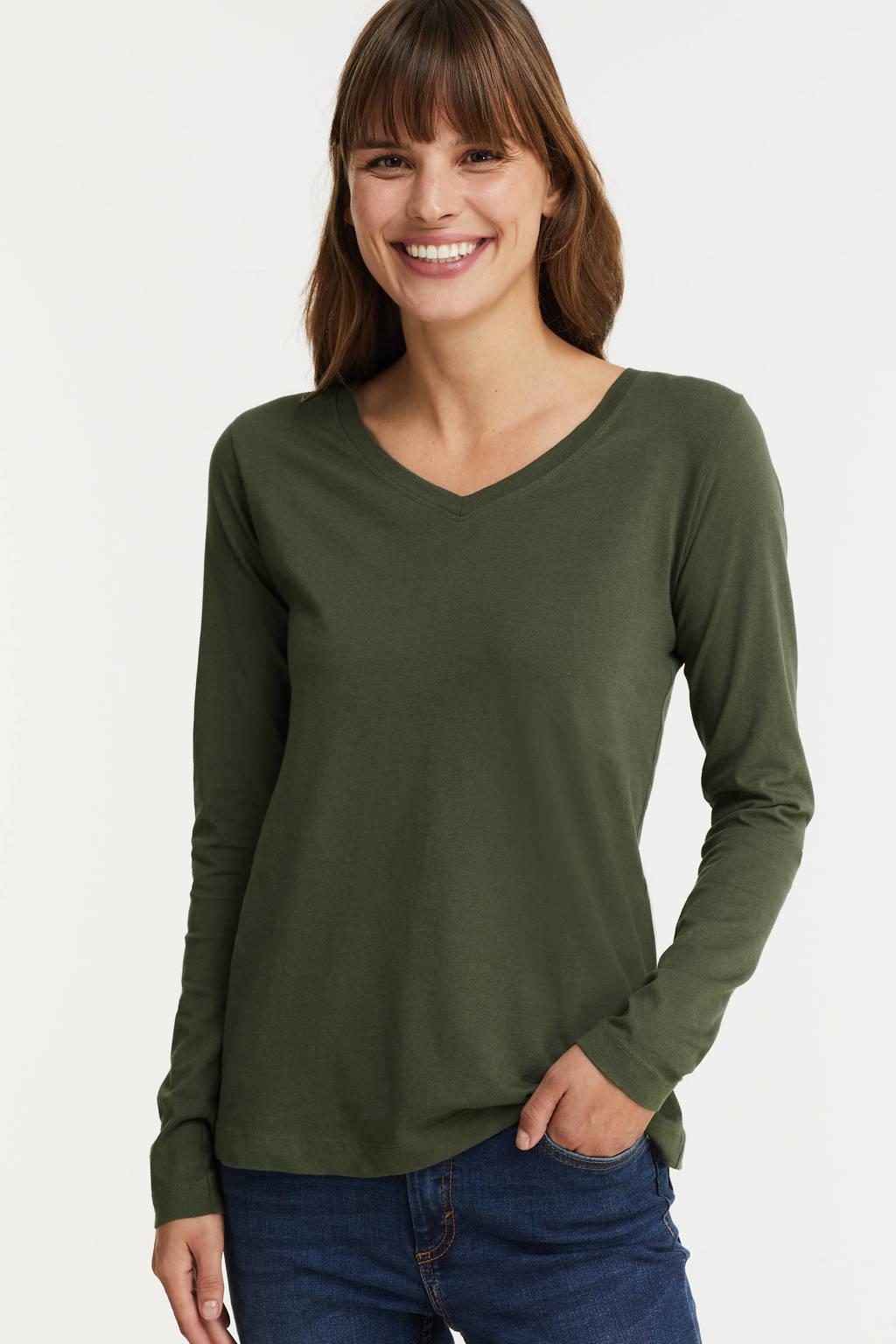 anytime longsleeve t-shirt V-hals kaki, Kaki groen