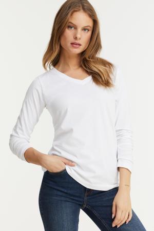 longsleeve t-shirt V-hals wit