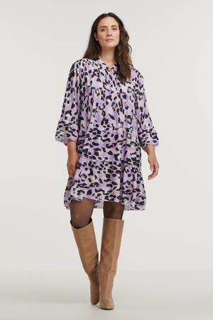 A-lijn jurk Lola met all over print en volant paars/zwart