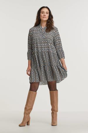 A-lijn jurk Lola met all over print en volant zwart/beige/wit