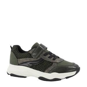 sneakers met dierenprint groen/grijs