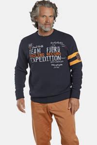 Jan Vanderstorm trui JESPER Plus Size met tekst en 3D applicatie donkerblauw, Donkerblauw