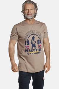 Jan Vanderstorm T-shirt ASLAK Plus Size met printopdruk beige, Beige