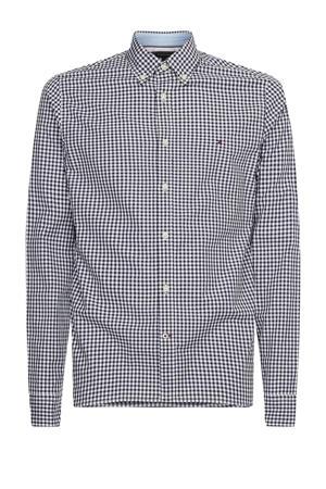 +size geruit regular fit overhemd Plus Size van biologisch katoen carbon navy / white
