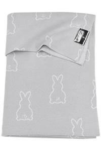 Meyco X Mrs. Keizer baby ledikantdeken Rabbit 100x150 cm silver, Zilver