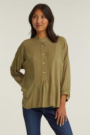 blouse met lurex kaki