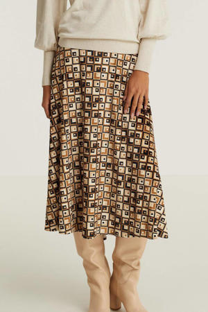 rok met all over print beige/bruin/zwart
