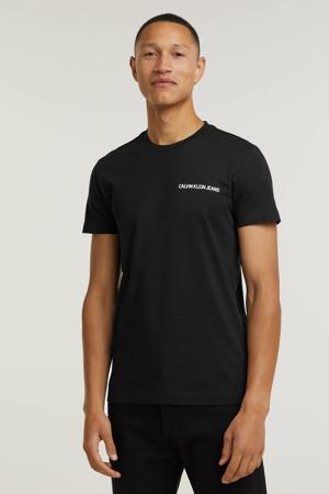 slim fit T-shirt CHEST INSTITUTIONAL met logo zwart
