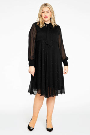 semi-transparante jurk PONPON met glitters zwart/zilver