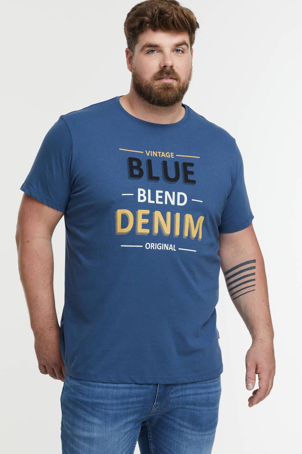 Blend Big regular fit T-shirt Plus Size met tekst 194026 ensign blue, 194026 Ensign Blue