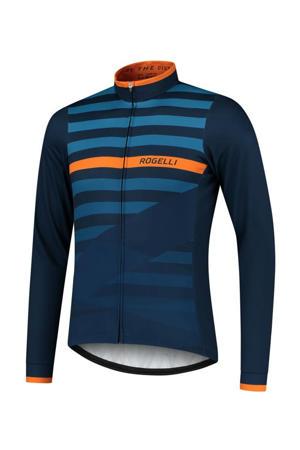 fietsshirt Stripe blauw/oranje