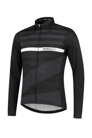 fietsshirt Stripe zwart/grijs