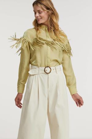 blouse Coco met franjes groen