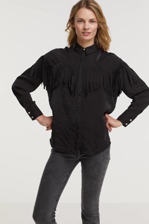 blouse Coco met franjes zwart