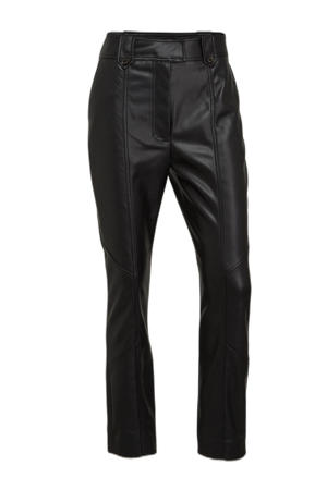 imitatieleren cropped high waist straight fit pantalon Ace zwart
