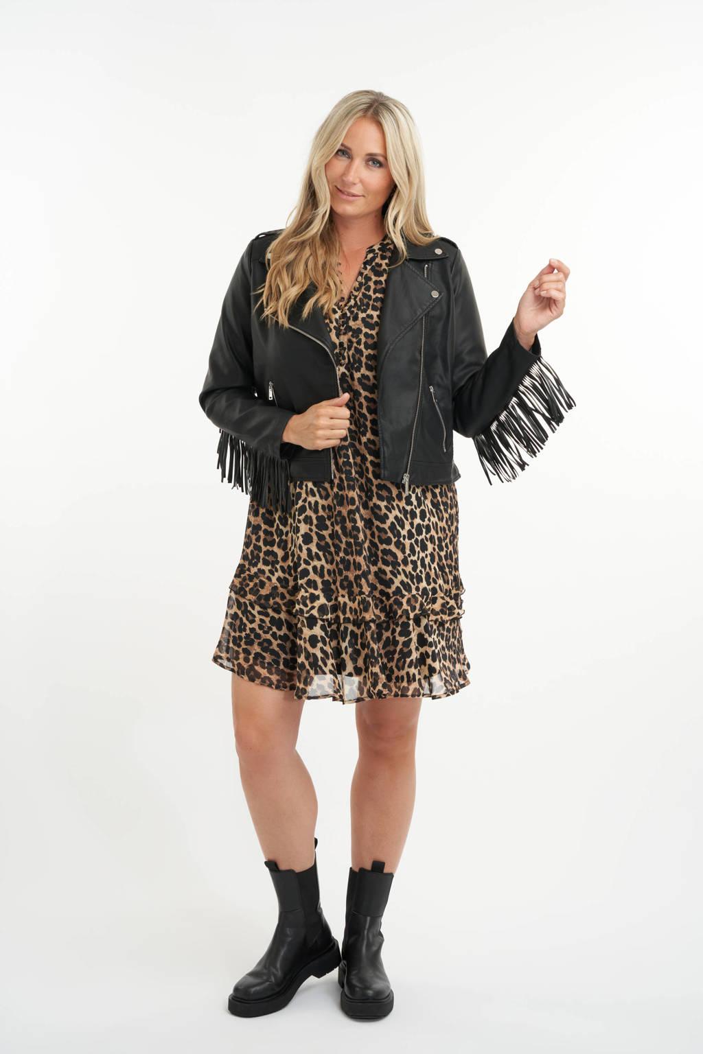 MS Mode imitatieleren jas met franjes zwart, Zwart