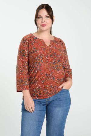 T-shirt met all over print koraalrood/oker/blauwgroen