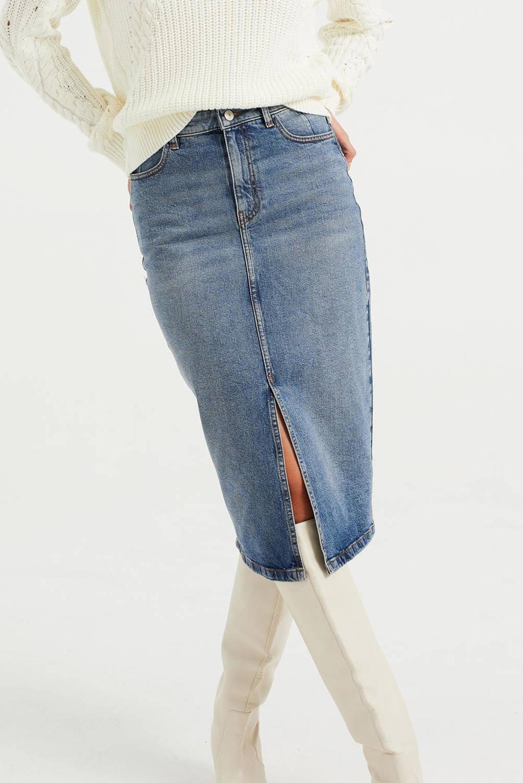 WE Fashion high waist spijkerrok blue denim, Blauw