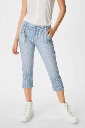 gestreepte slim fit broek blauw/wit