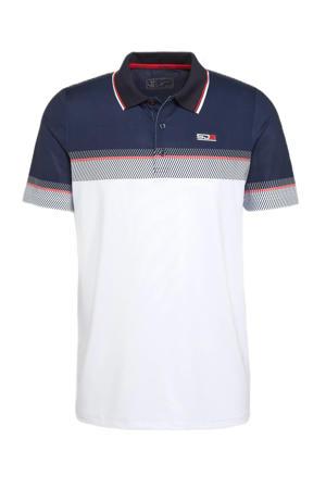 sportpolo wit/blauw