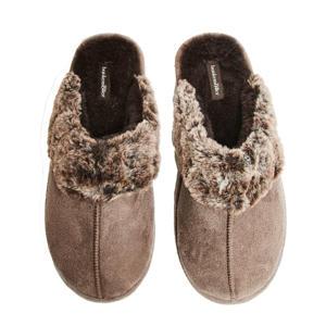 suèdelook pantoffels met imitatiebont bruin
