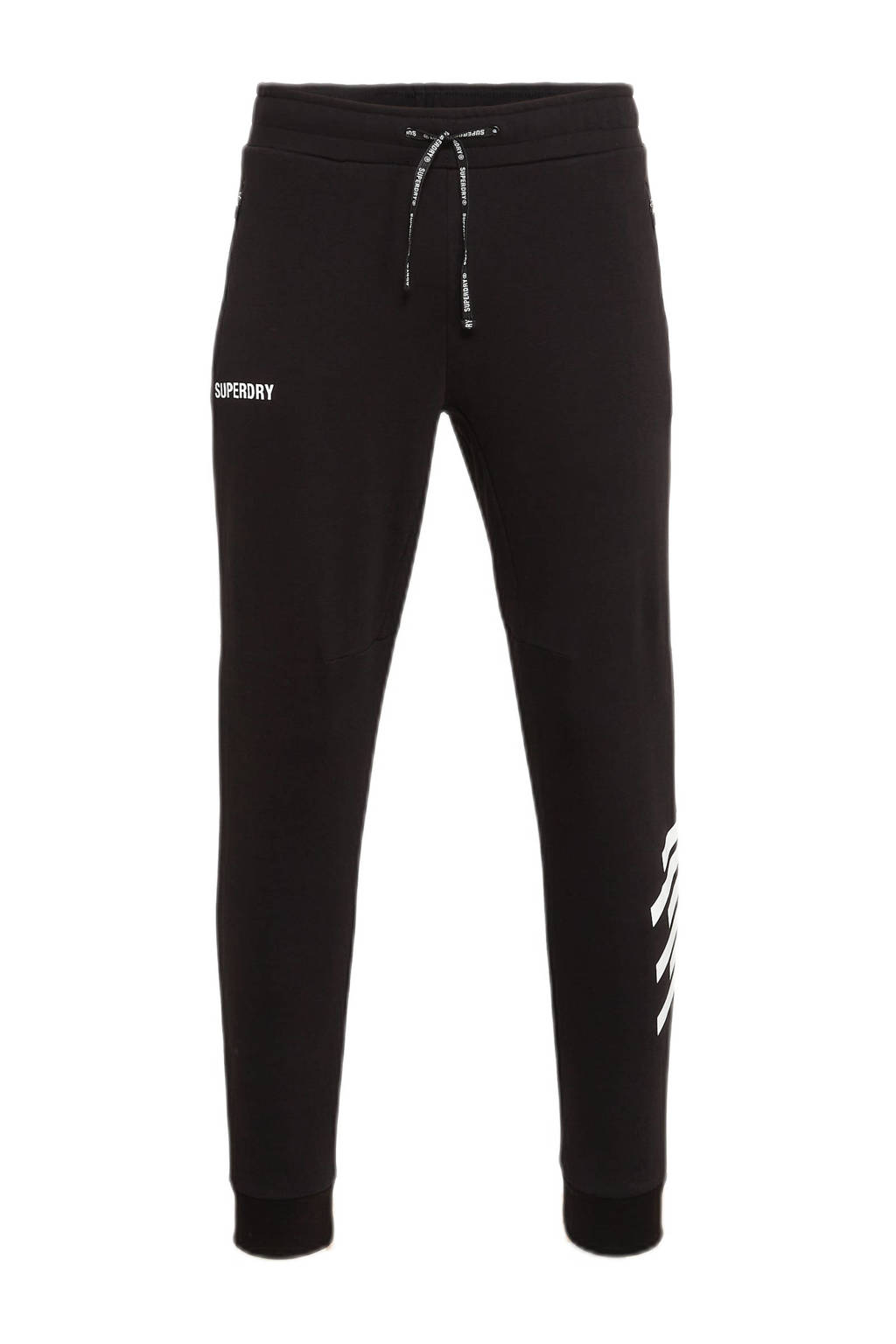 Superdry Sport   joggingbroek zwart, Zwart