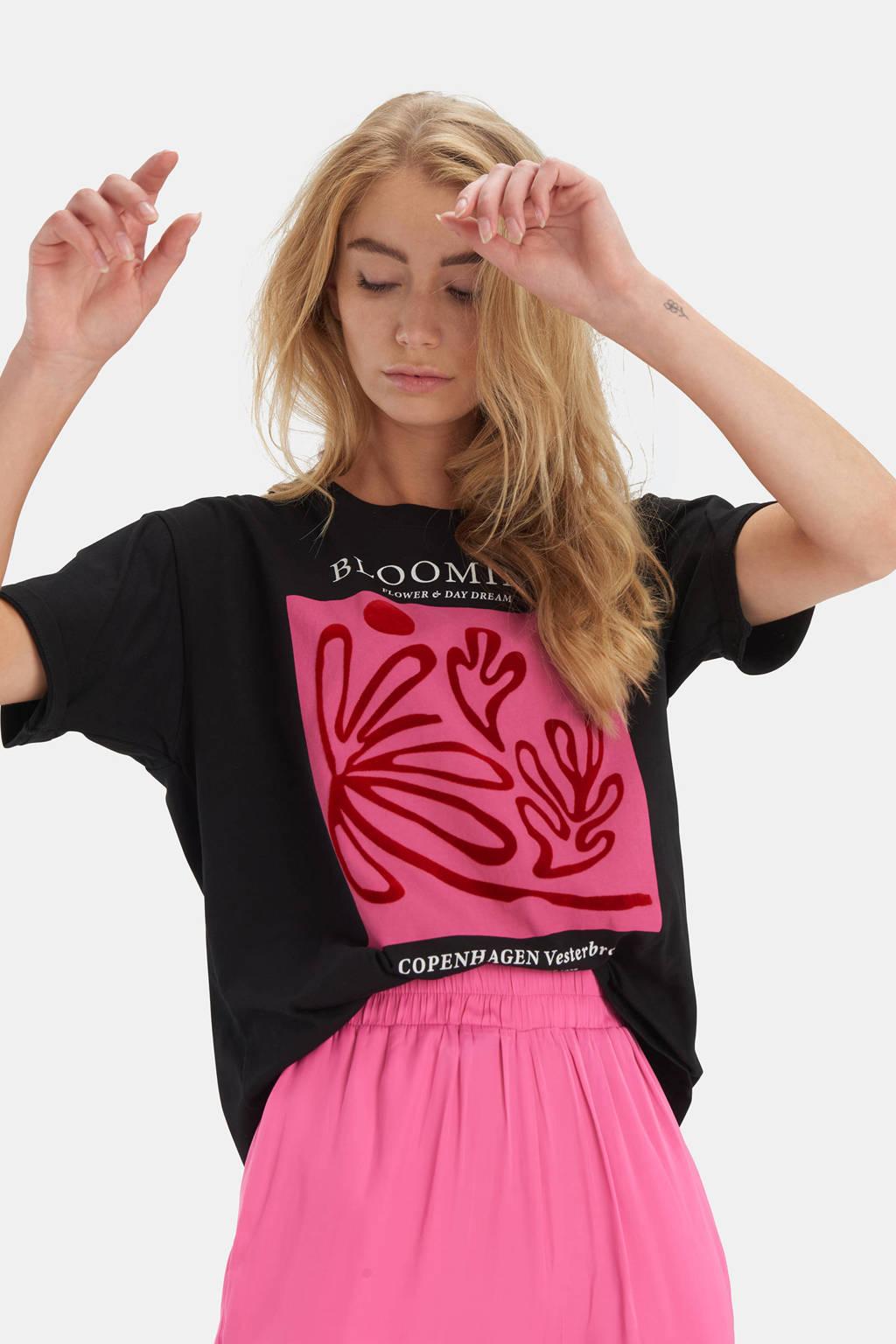 Shoeby Eksept T-shirt Flock Mix met printopdruk zwart/roze, Zwart/roze
