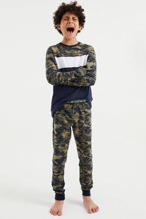 pyjama met camouflageprint armygroen/donkerblauw/wit