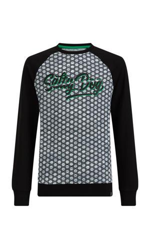 sweater met all over print grijs/zwart/groen