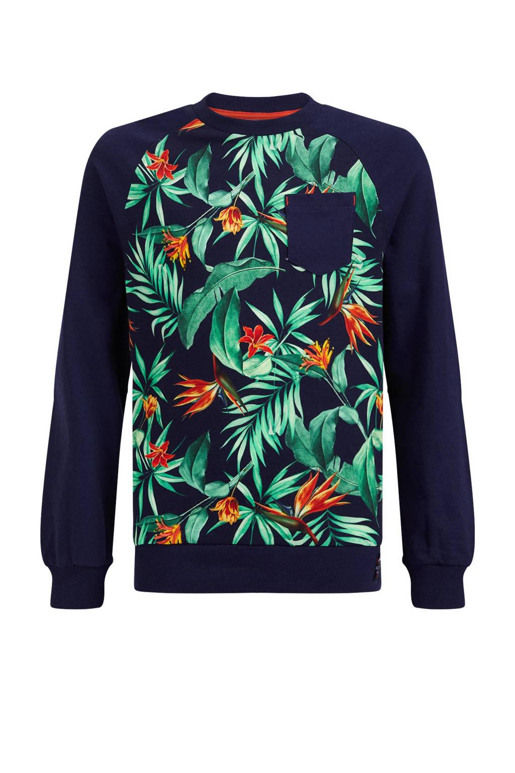 WE Fashion longsleeve met bladprint donkerblauw/groen/rood, Donkerblauw/Groen/Rood