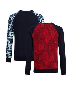 longsleeve - set van 2 donkerblauw/zwart/rood