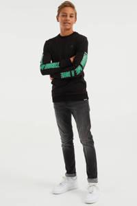 WE Fashion Salty Dog longsleeve zwart/groen, Zwart/groen