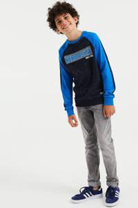 WE Fashion longsleeve met tekst blauw/zwart, Blauw/zwart