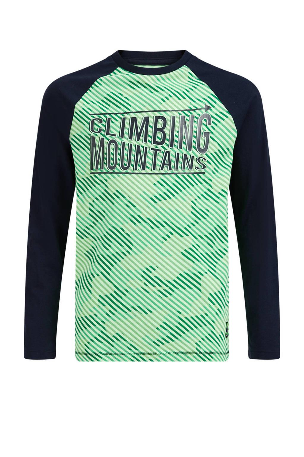 WE Fashion longsleeve met all over print groen/donkerblauw, Groen/donkerblauw