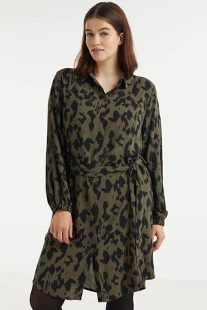 blousejurk CARLOLLIDALI met all over print en ceintuur groen/zwart