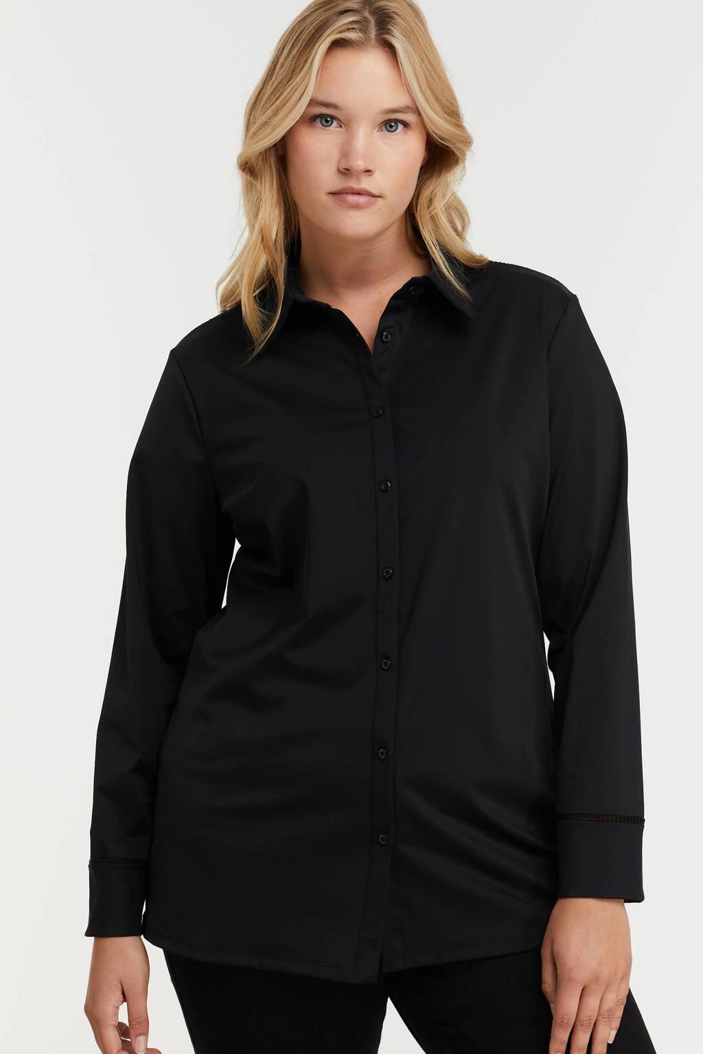 Exxcellent blouse Laila van travelstof zwart, Zwart