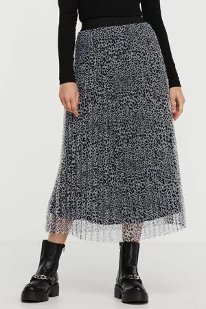 semi-transparante mesh rok met all over print en plooien grijs/ zwart