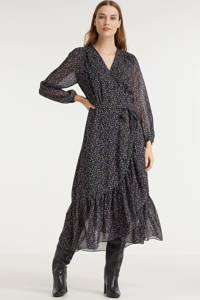 Esqualo gebloemde semi-transparante wikkeljurk Dress overlap purple flower zwart/ paars, Print