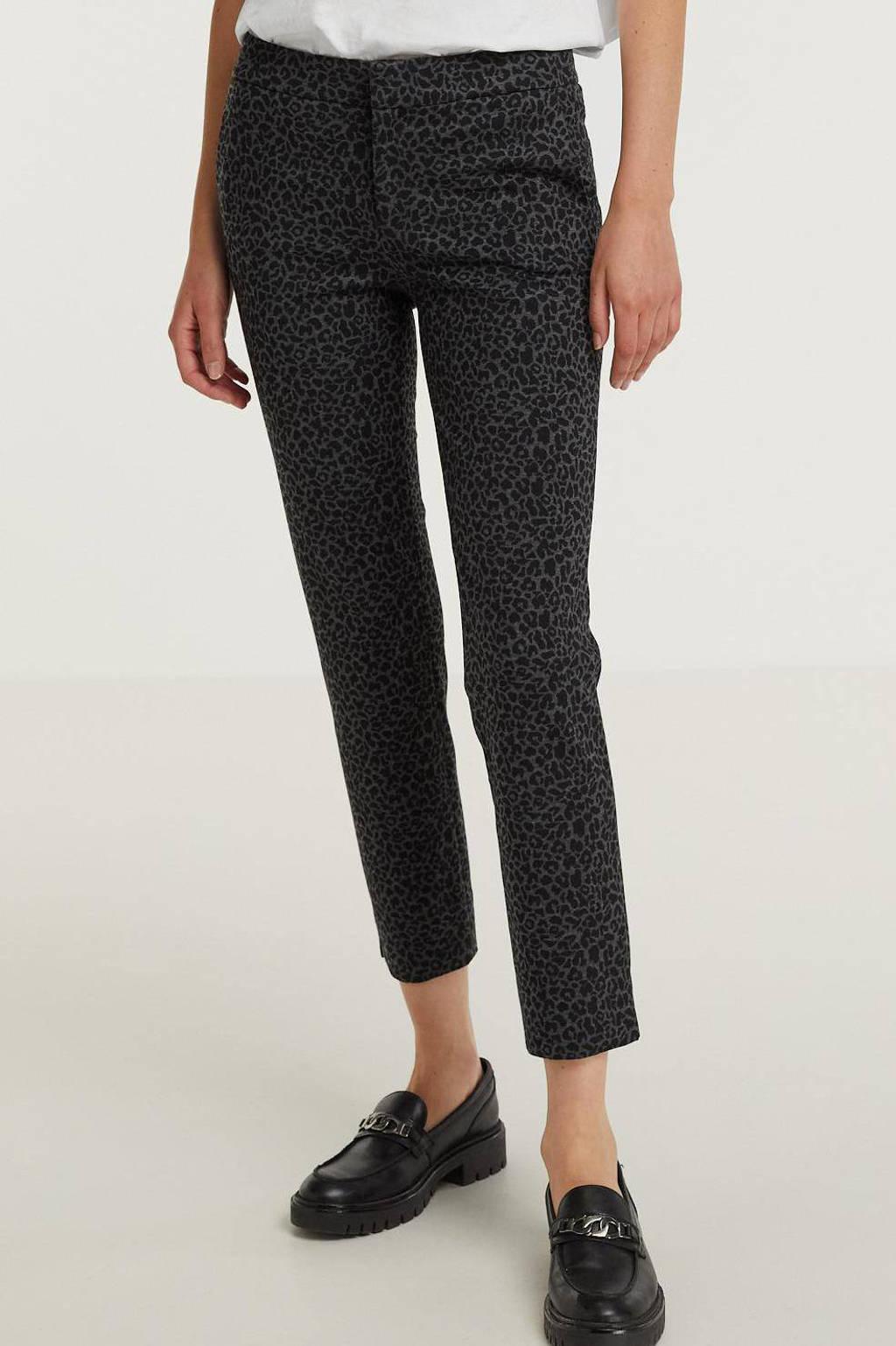 Esqualo cropped regular fit pantalon met all over print grijs, Zwart