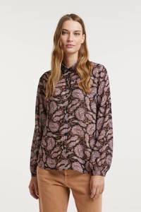 Esqualo blouse met paisleyprint lila, Print