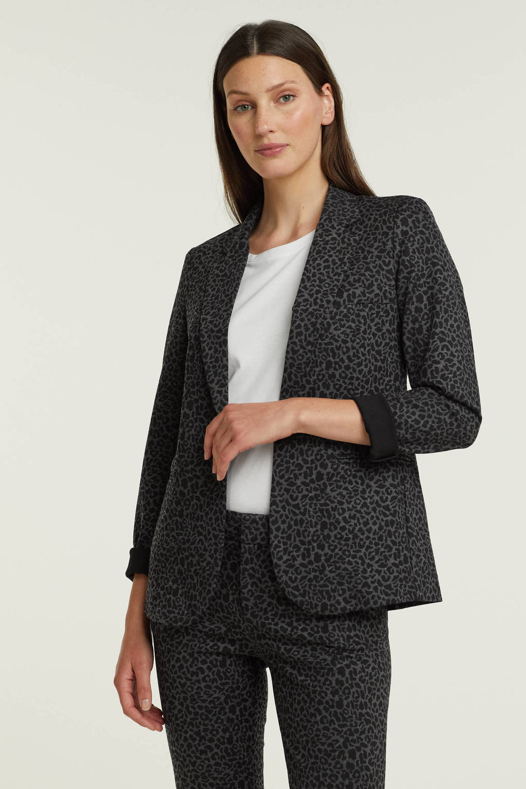 Esqualo blazer met krijtstreep grijs/zwart, Zwart
