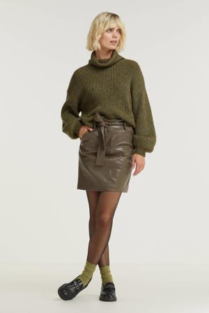 rok Skirt short belt PU met ceintuur legergroen