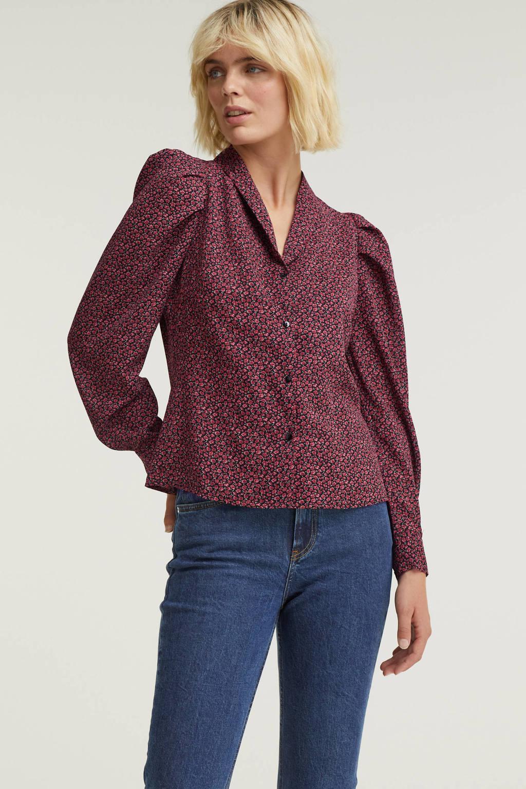 Esqualo gebloemde blouse zwart/roze/groen, Print