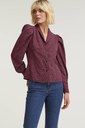 gebloemde blouse zwart/roze/groen