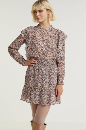 gebloemde semi-transparante rok lila