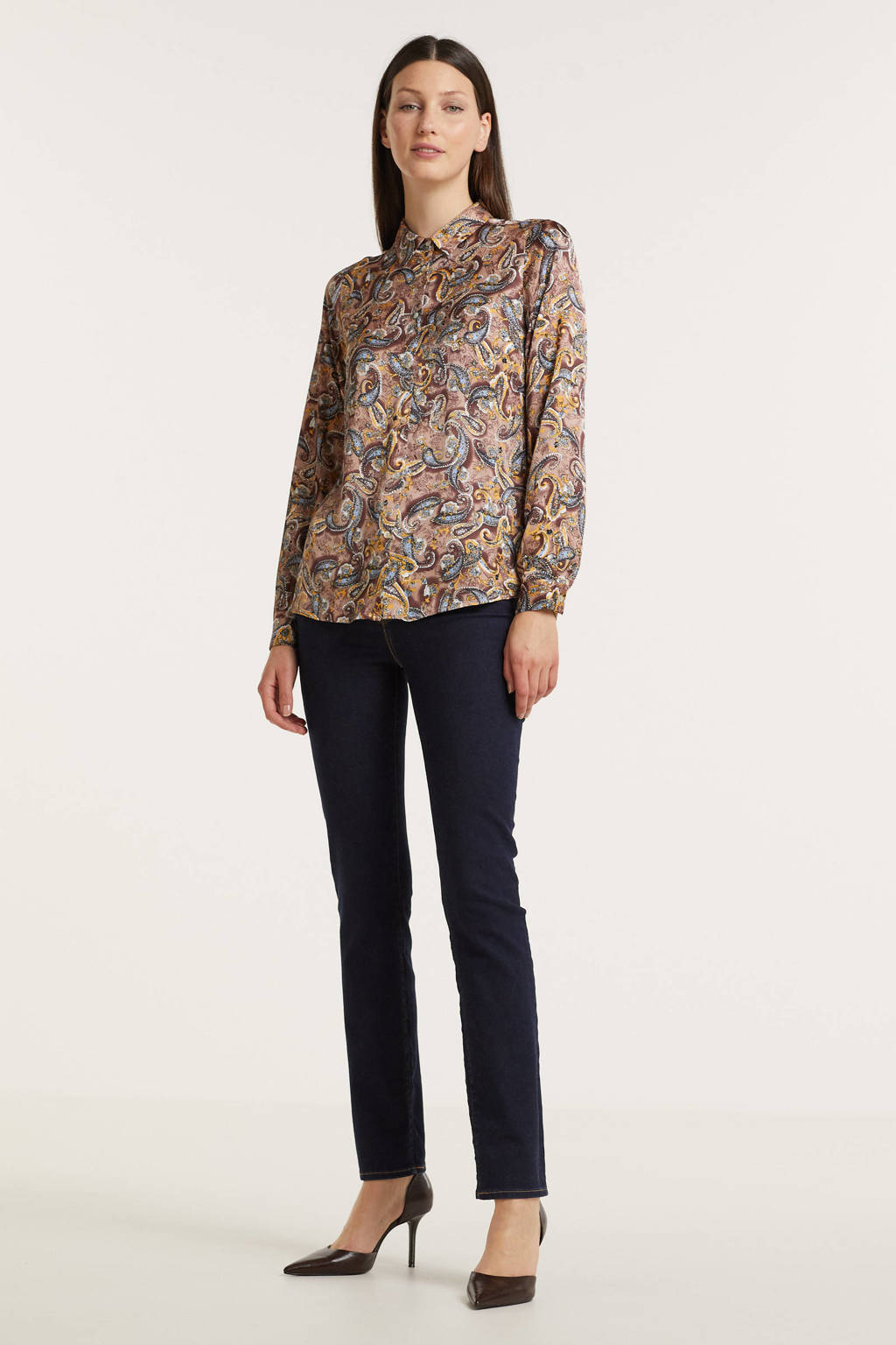 Esqualo blouse met paisleyprint lichtbruin, Print