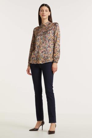 blouse met paisleyprint lichtbruin
