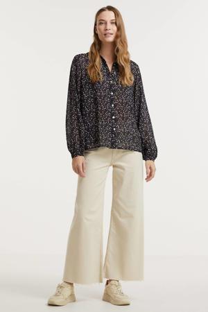 gebloemde blouse zwart/ paars