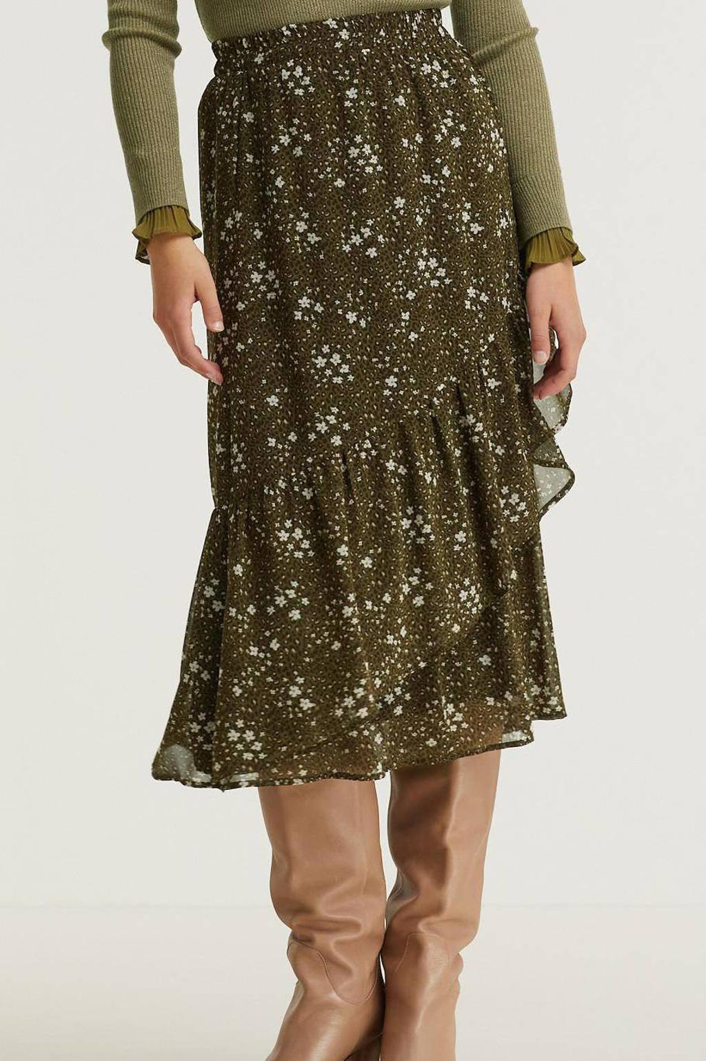 Esqualo gebloemde semi-transparante rok donkergroen/zwart/wit, Print